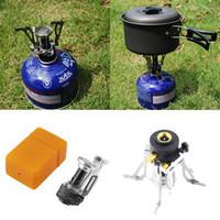 mini taşınabilir ocak toptan satış-Taşınabilir Açık Piknik Gaz Katlanabilir Kamp Mini Çelik Soba Vaka ücretsiz kargo