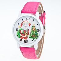 bandas de reloj de moda al por mayor-Moda Papá Noel Reloj de Dibujos Animados Navidad Ancianos Patrón Banda de Cuero Analógico Cuarzo Relojes de Vogue Relogio Feminino