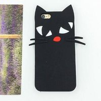 Wholesale Beard Iphone - 3D Cute Lovely Cartoon Black Beard Cat Cases Silicone Soft Case Cover for iPhone 6 6S Plus 5S SE
