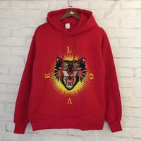 Wholesale Tiger Sweatshirt Pullover - Tiger Head Hoodies Men Women Embroidery Hip Hop Sweatshirt Cotton Tiger Hoodies 2018