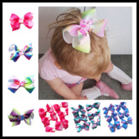 Wholesale Grosgrain Animal Clip - Unicorn Pattern 6 Colors Baby Girls Bows Hairpins Grosgrain Ribbons Childrens Hair Accessories Kids Barrettes Hair Clips Party Headware