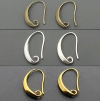 Wholesale Antique Bronze Earring Wire - Free shipping Wholesale-100pcs lot Antique Bronze Silver Gold Plated Ear Wires Hook Earring for DIY Jewelry 12*18mm
