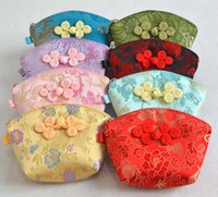 Wholesale Jewelry Shells Supplies - Cute Shell Chinese knot Small Coin Purse Candy Gift Bag Zipper Silk Brocade Favor Bags Jewelry Storage Pouch Money Pocket