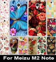 Wholesale Hood For Mobile - Wholesale-Colorful Brilliant Rose Peony Flowers Painted Protective Plastic Mobile Phone Case For Meizu M2 Note Shell Hood Cover Skin Bags