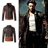 Wholesale Leather Long Sleeve Crew Neck - Wolverine Jacket Zip Slim Fit Faux PU Leather Biker Jacket Male Winter Brown Vintage Motorcycle Leather Jackets Men Plus Size 4XL
