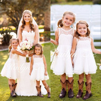 Wholesale Emma Brown - 2016 Emma Elizabeth Lace White Flower Girl Dresses For Toddler Girls Wedding Party Short Birthday First Communion Formal Girl Wears BA3083