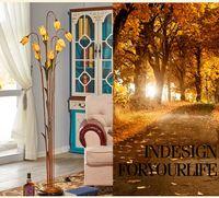 Wholesale Wrought Iron Floor Lamps - Flower Floor Lamps Wrought Iron Glass Art Deco Floor Lamp Warm Luxurious Bedroom Light Nordic Pastoral Creative