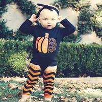 Wholesale Lovely Print Girl Boys - INS Hallowmas Halloween Pumpkin Baby Romper Boys Girls Jumpsuits Lovely Printing 3PCS Set Long Sleeve Bodysuit Infant Climb Clothes 175