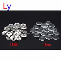 Wholesale European American Music - Blank Print Snap Button Making Brass Snap Buttons with Clear Glass Cabochons, Platinum, Clear, Button: 18mm(Add freedom print photos)