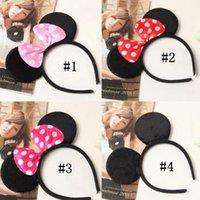 Wholesale Girls Party Head Accessories - Mickey Bow Head Band Lovely Girls Mouse Ears Baby Hair Accessories Party Headband Costume Headwear Hair Sticks OOA2564
