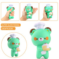 Wholesale Cell Phone Pendants - Squishy Chef Bear 14cm Slow Rising Toy Relieve Stress Cake Sweet Animal PU Cell Phone Strap Phone Pendant Key Chain Toy Gift