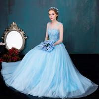 vestido de bola victoriano azul real al por mayor-100% real azul claro bordado de flores abalorios royal court vestido de gala Vestido medieval Renacimiento victoriano Belle Ball