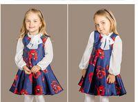 Wholesale Kids Long Tutu Skirt Ankle - Children's New Autumn Dresses 2016 Girls Fashion Cute Long Sleeved Skirt Print floral Two Piece Dresses Lovely Princess Cotton Kids clothing
