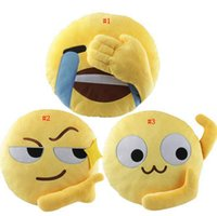Wholesale Pillow Emoticon - Emoji Plush Pillow 35*35CM Yellow Round Emoticon Expression Cushion Stuffed Toy Sofa Car Seat Funny Pillow 3 Styles OOA3125