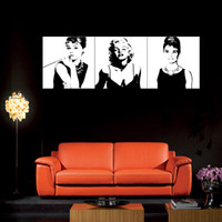 Wholesale Large Fashion Painting - 3 Panel Art-Large Classic Marilyn Monroe and Audrey Hepburn Picture Painting on Canvas Print Modern Home Decorations Wall Art