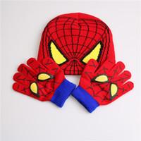Wholesale Spiderman Baby Hat - Gloves + hat Children's Winter Cartoon Glove Hat Sets Fashion Kids Baby Warm Knitted Caps Spiderman hat gloves