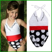 Wholesale Swimsuit Top Cute - 2017 fashion summer cute girl swimsuit baby girls clothing one-pieces white tops black dot baby kids swimming suits