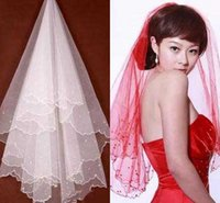 Wholesale Cheap Color Pencils - Color Free Bridal Veils Witn Beading Pencil Edge Wedding Accessory High Quality Hot Sale 2016 Cheap Modest