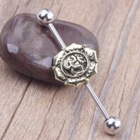 Wholesale Diamond Ball Plug - 316L Stainless Steel Lotus Flower Ball Head 38mm Industrial Barbell Tragus Ear Bar Piercing Body Jewelry Girl Boy