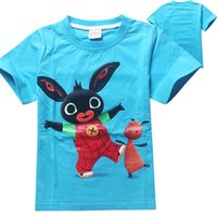 Wholesale Boy High Neck Shirts - PrettyBaby summer boys T-shirts high quality Bing Bunny printed blue cotton short sleeves kids clothes free shipping