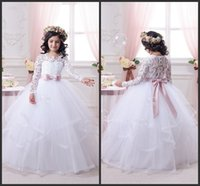 Wholesale christmas holiday images - Newest Ball Gown Long Sleeve Birthday Bridesmaid Wedding Party Holiday White Lace Tulle Flower Girl Dresses