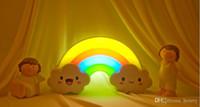 bandera usb al por mayor-30 unids una bolsa Rainbow LED luz nocturna luz de energía creativa batería de energía móvil instalada luces nocturnas DIY pegatinas de pared