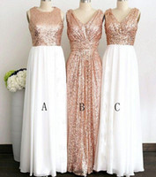 ingrosso abiti diversi stili-Abiti da damigella d'onore lunghi in paillettes in oro rosa con tre stili diversi per abiti eleganti da damigella d'onore da donna