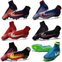 Wholesale Cheapest Kids Winter Shoes - Top Quality Kids Mercurial Superfly FG CR7 Magista Obra Soccer Shoes Cristiano Ronaldo Cleats Neymar Footbal Shoes Cheapest Soccer Boots