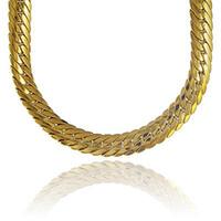 18k gold gefüllte männer großhandel-Chunky Fischgrätkette 18k Gelbgold gefüllt Herrenhalskette Schlangenknochenkette 24inches 82g