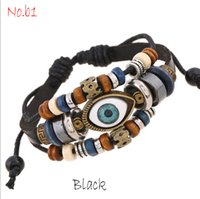 Wholesale Multi Bracelet Clover - 2pcs Crystal Beaded Bracelets Patterns Multi-layer Wax Rope Wristband Cuffs Bangles Evil Eye Tree of Life Four Leaf Clover The Wing Of Angel