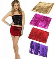 Wholesale Sexy Mini Skirt Tube - New 2 IN 1 Sexy Party Club wear Sequin Boob Tube top Dancer Sequined Mini Skirt