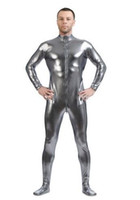 Wholesale Pink Skin Costume - Metallic Silver gray ,Men's Skin-Tight Dancewear Shiny Metallic Unitard Zentai Suit Front Zip, unisex ,