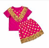 Wholesale Blue Dot Skirt Girls - Baby Girls Tassel Sets 2016 New Kids Girl Polka Dot Print T-shirt + Tassel Skirt 2pcs Suits Princess Outfits Children Clothing TL176-22