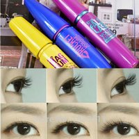 Wholesale Eyelash Curl Cream - 2016 3Pcs Lot Colossal Mascara Cream Volume Express Makeup Curling Real brand waterproof Eyelashes Blue Purple Yellow Free Shipping