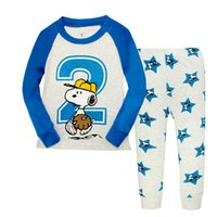 Wholesale Snoopy Suit - Spring Autumn long sleeve Snoopy boys girls homewear pajamas baby kids pajamas set children home wear suit 6 sets