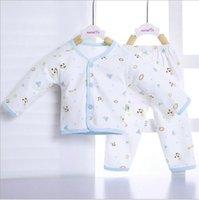 mavi iç çamaşırı takımları toptan satış-2 Adet / takım Yumuşak Güzel Yenidoğan Paçalı Don Pamuklu Takım Bebek Iç Çamaşırı Seti Pamuk Bebek Giyim Kız Erkek Karikatür Desen Pijama