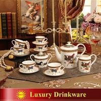 Wholesale European Tea Coffee Sets - Porcelain coffee set bone china god horses design outline in gold 15pcs European tea set coffee pot coffee jug cup saucer set