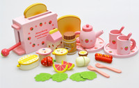 Wholesale Games Gardening - 2016 Mother Garden Children'S Wood Playhouse Game Toy Toaster Toast Bread Kids Wooden Kitchen Toys Set Free DHL E605E