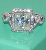 Wholesale Topaz Ring Princess Cut - Eternal 925 Sterling Silver Jewelry Princess-cut 6CT square White Topaz Diamond gemstone Rings finger Wedding Band Ring for Women size 5-11