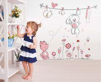 Wholesale Teddy Wall Decals - Pink Cartoon Cat Rabbit Flower Wall Sticker For Baby Girls Kids Rooms Home Decor Teddy Bear Umbrella Classroom Wall Decals