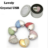 Wholesale 256 Usb Pen Drive - Crystal Asymmetric Heart Shaped Jewelry USB Flash Drive with Necklace 20pcs Lots USB Stick Pen Drive Factory