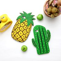 Soft Cartoon 3D Cute Plant Cactus Abacaxi Summer Fruit Phone Case para iPhone 8 7 6 6S mais Silicone Capa Shell Opp Bag