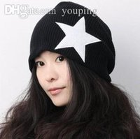 Wholesale Knitting Models For Men - Wholesale-Gorros de invierno Fashion knitted hats for men and women couple models beanies Pentagram knitting Cap Free Dropshipping