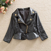 Wholesale Leather Jackets Children Girls - Autumn Winter Baby Girl Faux Leather Jackets Clothes Fashion Children Long Sleeve Zipper Black Outwear Coat Costume Clothing