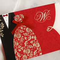 Wholesale Personalized Wedding Clothes - Red Groom & Bride Clothes Wedding Invitations Cards Ribbon Bowknot Custom Personalized Printing with Envelope Seal free shipping