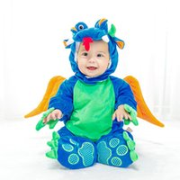 Wholesale Thick Baby Costumes - Christmas Cute Cartoon Dinosaur Rompers Jumpsuits Baby Clothing Animal model Romper velvet Down Thick Cosplay Performance costume A7610