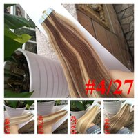 Wholesale Tape Hair Extensions 27 - 7A Tape On Skin 4cm Width,10''-26'' 2.5g pc 40pcs 100g Straight P4# 27# brazilian Hair Skin Weft Double Sided Tape In Human Hair Extensions