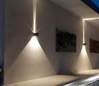 ingrosso ha condotto l'interruttore libero-Lampada da parete a LED 6W su-giù Cube ad angolo regolabile Semplice moderno per la decorazione esterna dell'edificio IP65 AC90-260V Sconce Lighting Free-shippiing