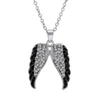 elmas melek kanat kolye toptan satış-Gümüş Siyah ve Beyaz Pırlanta Melek Kanatlı Kolye Kolye