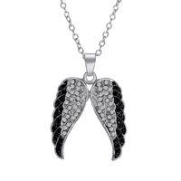 collier pendentif aile d'ange en argent sterling achat en gros de-Pendentif Ailes d'ange en argent sterling serti de diamants noirs et blancs